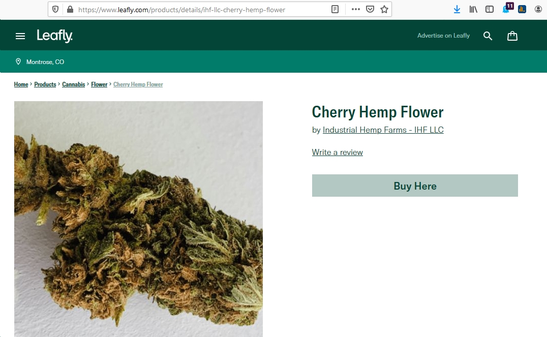 Industrial Hemp Farms Leafly ad cherry strain
